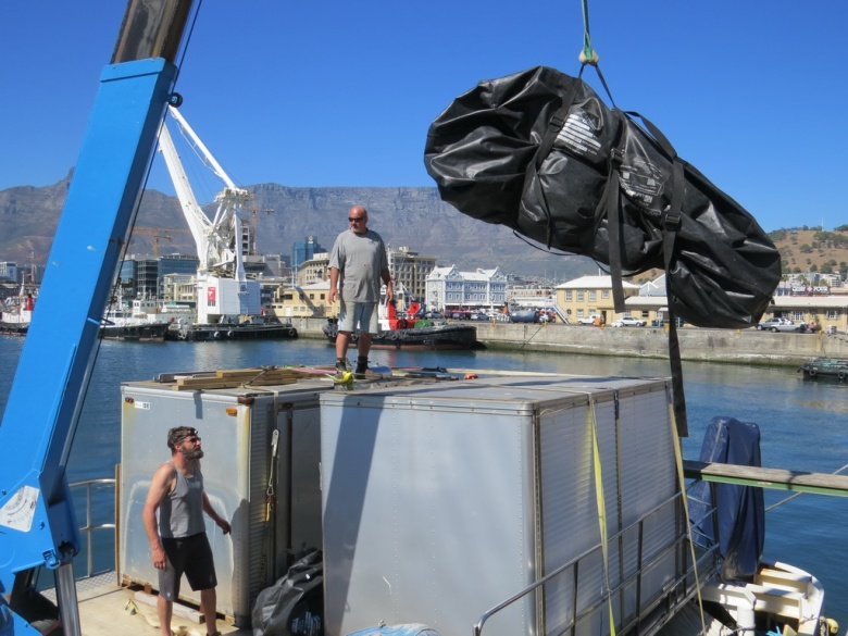 HDT Airbeam tent being loaded onto the Braveheart.  The tent is also blocking a nice view of Table Mountain.  Image credit: VK0EK team.