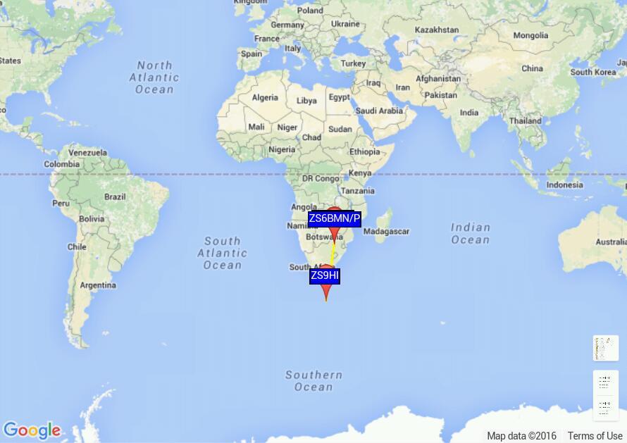 WSPR MAP ZS6BMN 14 March 2016
