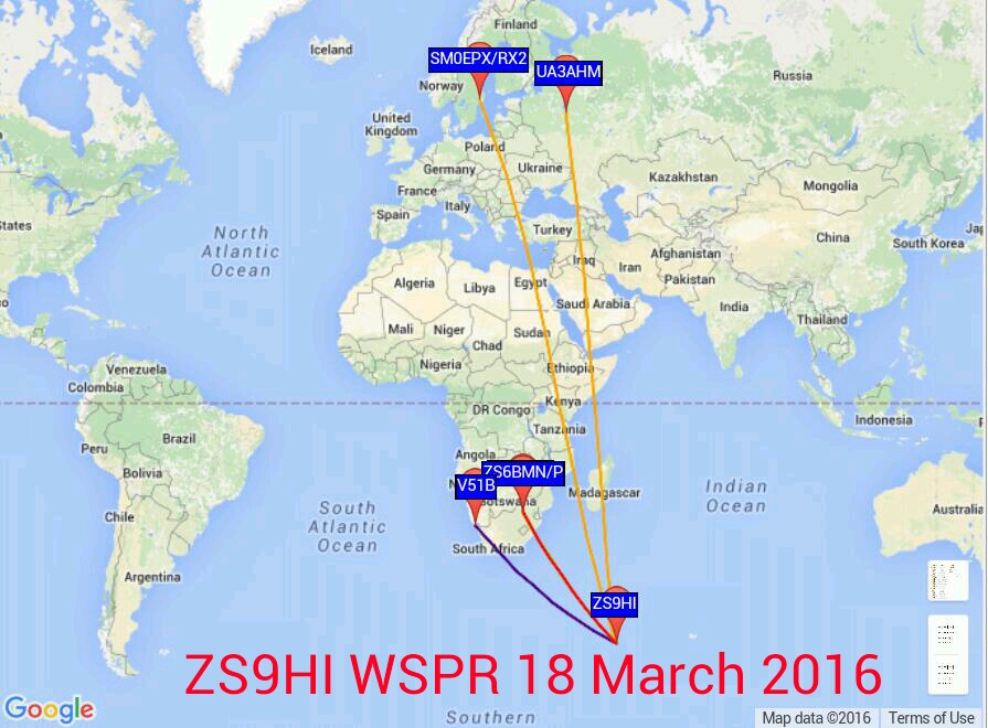 ZS9HI WSPR 18 March 2016 (4 countries)